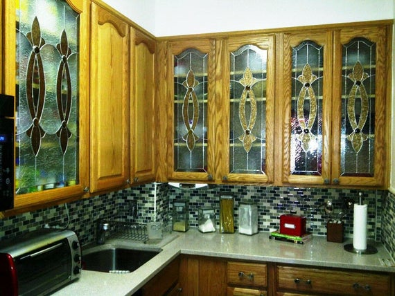 Ci 2 Elegant Stained Glass Custom Kitchen Cabinet Inserts Terraza Stained Glass