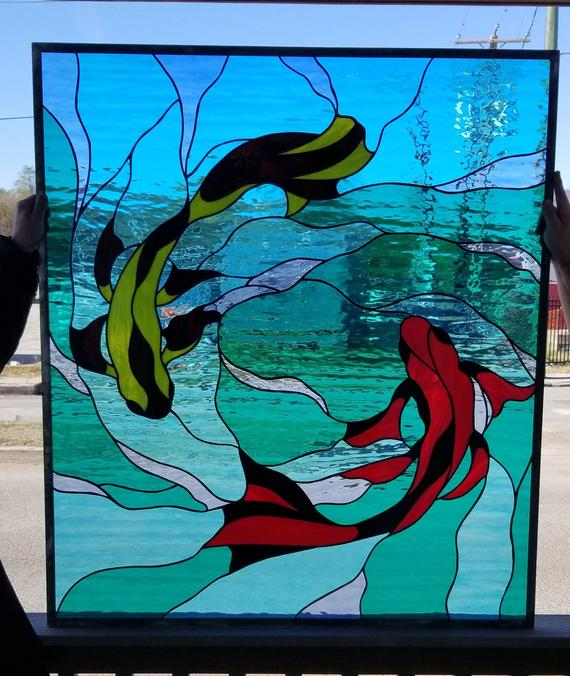 W 377 Swimming Koi 2 Stained Glass, Stained Glass Pictures